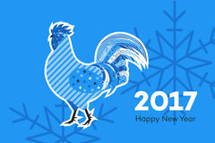 Abstract Fiery Rooster. Symbol Of 2017 New Year On The Chinese Calendar. Memphis Design Vector Illustration Royalty Free Stock Images