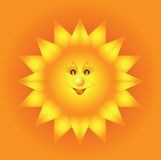 Abstract fiery sun on orange background. Vector illustration of smiling fiery sun on orange background with yellow sunbeams Royalty Free Stock Photos