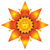 Abstract fiery sun. Vector illustration of fiery smiling  sun with orange and yellow sunbeams.Spatial  work Stock Photo