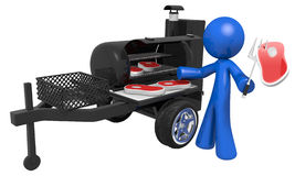 Abstract figure barbecue grill. 3D illustration of an abstract person cooking meat on a mobile barbecue grill Stock Photography