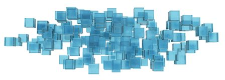 Abstract figure of the blue ice cubes Stock Photos