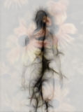 Abstract figure design. With blooms background Stock Photography