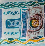 Abstract figure, hot batik, background texture, handmade on silk, surrealism art. Abstract figure, hot batik, background texture, handmade on silk,  surrealism stock photos