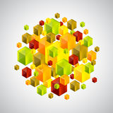 Abstract figure from many colorful 3d cubes Royalty Free Stock Photo