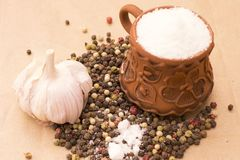 Fugural still life photo image of pile of spices, garlic, craft stock image