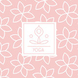 Abstract Figure Pink Yoga Studio Design Card. In Pastel Colors Flat Vector Design On Ornamental Background Stock Images