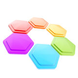Abstract figure of six hexagon plates. Abstract figure made of six glossy hexagon plates isolated on white Stock Photos