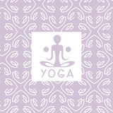 Abstract Figure Violet Yoga Studio Design Card. In Pastel Colors Flat Vector Design On Ornamental Background Stock Image