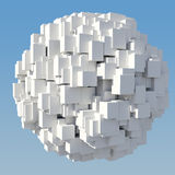 Abstract figure of the white cube. Isolated on blue sky background Royalty Free Stock Photography