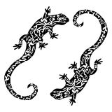Abstract figured patterned lizards, tattoo sketch, print. Black and white illustration Stock Photo