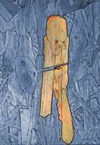 Abstract figures on a wooden board, which were already present on the wood and are highlighted in color and royalty free stock images