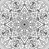 Abstract filigree pattern. Vector black and white background. Template for textile, carpet, shawl Stock Photos