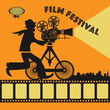 Abstract Film Festival poster. Color illustration Stock Photo