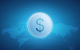 Abstract financial background with dollar sign and world map on gradient blue color background. Abstract financial background with dollar sign and world map on Royalty Free Stock Images