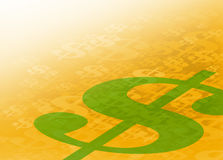 Abstract Financial Background Graphic. Abstract US Dollar Signs Gold with Green Background. Perfect for all types of financial communication arts Stock Photography