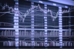Abstract financial candlestick chart with line graph and stock numbers in Double exposure style background Stock Image