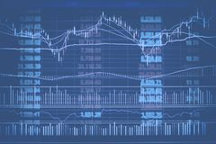 Abstract financial candlestick chart with line graph and stock numbers in Double exposure style background Stock Images