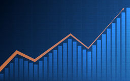 Abstract financial chart with arrow and bar chart in stock market on blue color background Stock Photography