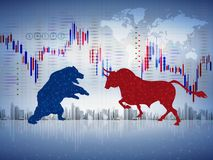 Abstract financial chart with bulls and bear in stock market isolated white background illustration, bull vs bear, stock market co royalty free illustration
