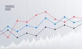 Abstract Financial Chart with Line graph. Abstract Financial Chart with Line Graph in Stock exchange market. Statistics uptrend. Analytics Data Report. Vector Stock Photos