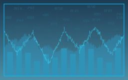 Abstract financial chart with line graph and bar chart on blue color background. Abstract financial chart with line graph and bar chart on blue color Royalty Free Stock Image