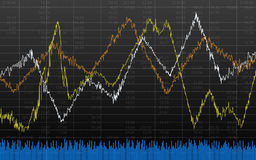 Abstract financial chart with line graph on black color background Royalty Free Stock Images