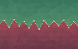 Abstract financial chart with line graph and green and red color polygon background. Abstract financial chart with line graph and green and red color polygon Stock Image