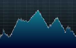 Abstract financial chart with line graph and stock numbers on black color background Royalty Free Stock Images