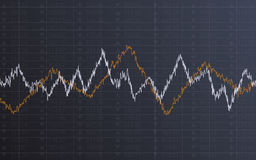 Abstract financial chart with line graph and stock numbers in Sideways market on dark gray color background Royalty Free Stock Photos