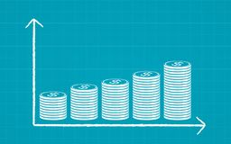 Abstract financial chart with stack of dollar coins in chalk Scribble design on blue color background. Abstract financial chart with stack of dollar coins in Royalty Free Stock Images