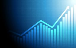 Abstract financial chart with uptrend line graph arrow and stock market on blue color background. Abstract financial chart with uptrend line graph arrow and Royalty Free Stock Photography