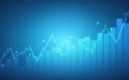 Abstract financial chart with uptrend line graph and bar chart on blue color background. Abstract financial chart with uptrend line graph and bar chart on blue Stock Photography