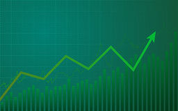 Abstract financial chart with uptrend line graph on green color background. Abstract financial chart with uptrend line graph in bull market on green color Royalty Free Stock Photos