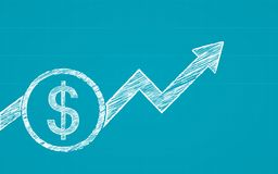 Free Abstract Financial Chart With Dollar Coins And Arrow In Chalk Scribble Design On Blue Color Background Royalty Free Stock Photo - 119265835