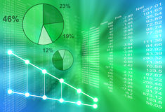 Abstract Financial Figures. Are coming out of the center with various pie graphs. The background is green and blue Stock Photography