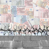 Abstract financial security. With wall and euros Royalty Free Stock Photos