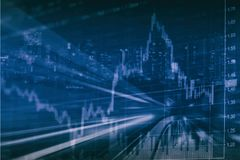 Abstract financial stock chart and cityscape in Double exposure style background. Abstract financial stock chart and cityscape in Double exposure style with blue Royalty Free Stock Photography