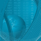 Abstract financial theme. Abstract theme with globe and stock market financial figures Royalty Free Stock Image