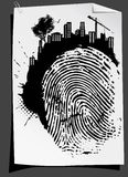 Abstract finger mark vector. Finger mark with architectural background vector Stock Images
