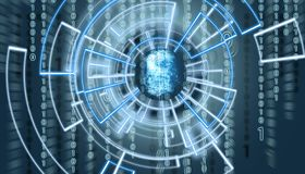 Abstract fingerprint om virtual screen with matrix code in the background and patern surrounding it. Biometric verification concept stock photo