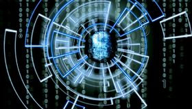 Abstract fingerprint om virtual screen with matrix code in the background and patern surrounding it. Biometric verification concept stock photos