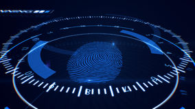Abstract Fingerprint Scanning.Technology Concept. Blue color. Stock Photos