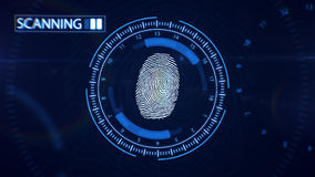 Abstract Fingerprint Scanning.Technology Concept. Blue color. Royalty Free Stock Photography