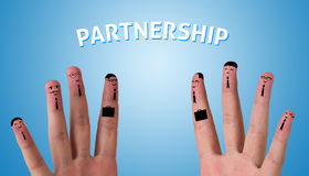 Abstract fingers having deal. (partnership Royalty Free Stock Photography