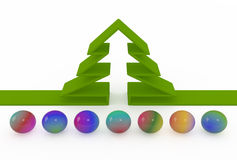 Abstract fir-tree and colored balls. Abstract fir-tree and set of colored balls, 3D Royalty Free Stock Photos