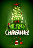 Abstract Fir tree forming from letters and symbols of holiday. Merry Christmas inscription and Happy New Year. Santa. Abstract festive fir tree forming from Stock Images