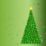 Abstract fir tree from stars. On the green background Stock Photos