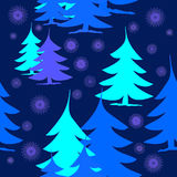 Abstract fir trees blue turquoise purple on dark blue with purple snowflakes Stock Photo