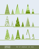 Abstract fir trees and pines. Vector illustration. Set of different abstract fir tree and pine Stock Photo