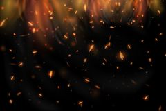 Abstract fire background. Realistic colorful image lines of fire fire fire with horizontal reflection of smoke and sparks on a black background. Abstract fire Royalty Free Stock Image